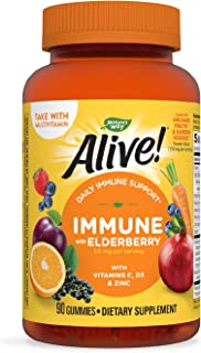 Nature's Way Alive! Immune Gummies, Food-Based Blend (150mg per serving) and Elderberry, Gluten Free, Made with Pectin, 90...
