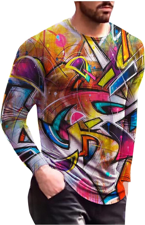 FORUU Mens Shirts 2021 Long Sleeve Graphic Tees Fall Slim Casual O Neck Shirts 3D Print Long Sleeve T Shirts Fashion Top