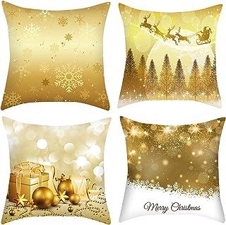 HyFanStr - Juego de 4 fundas de almohada de terciopelo suave para Navidad, diseño de reno, 45 x 45 cm, Christmas Style B, 45x45cm/18x18