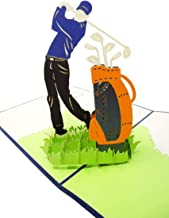 Golf - 3D Pop Up Greeting Card for All Occasions - Love, Birthday, Retirement, Congratulations, Thank You, Get Well, Fathers, Mothers Day- Fold Flat, Envelope Included (Golf Player)