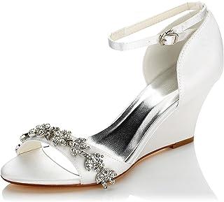 JIA JIA Chaussures de Mariée pour Femme 121755B Open Toe Talon Compensé Strass de Pompes en Satin Chaussures de Mariage