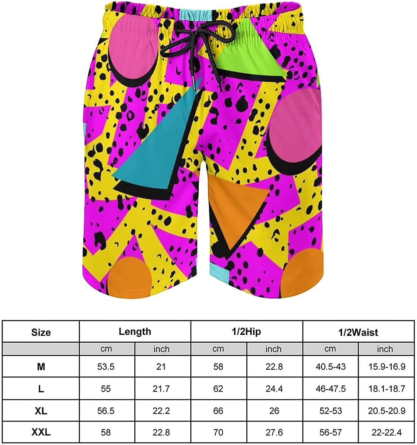 Retro 80S Or 90S Beach Shorts for Men, Quick Dry with Mesh Lining and Pockets