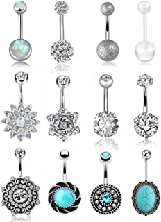FIBO STEEL 12 Pcs 14G Stainless Steel Belly Button Rings for Women Navel Barbell Body Jewelry Piercing …