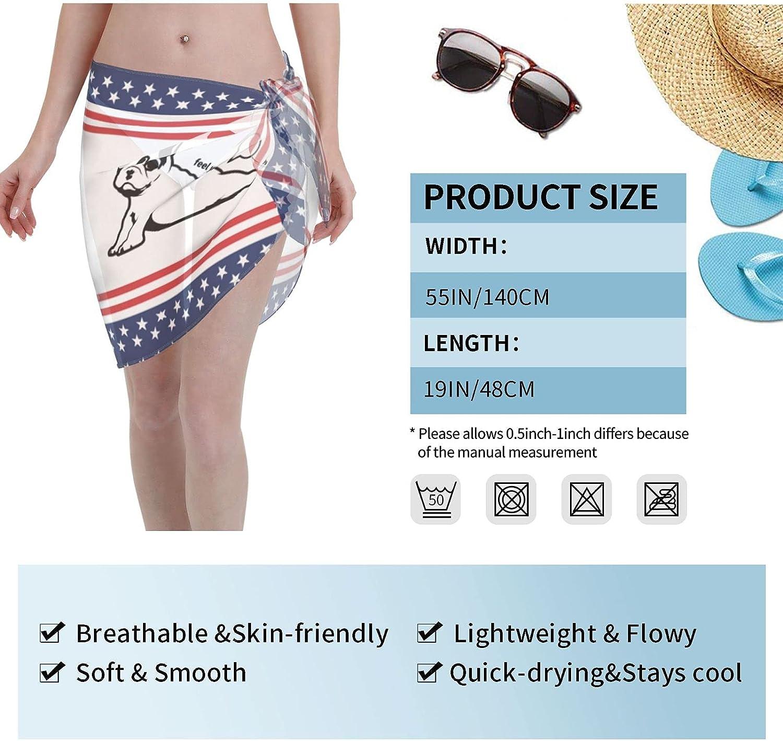 Doga Frenchie French Bull Dog Women Short Sarongs Beach Wrap Swimsuit Cover Ups Sheer Short Skirt Bikini Chiffon Scarf Black