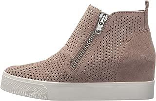 Womens Perforated Wedge Sneakers Platform High Top Mid Heel Side Zip Ankle Booties