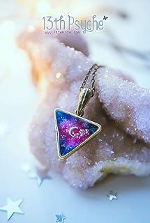 Collana Galaxy, regalo di gioielli celeste per donna, collana a mezzaluna, girocollo a triangolo, collana in resina, gioie...