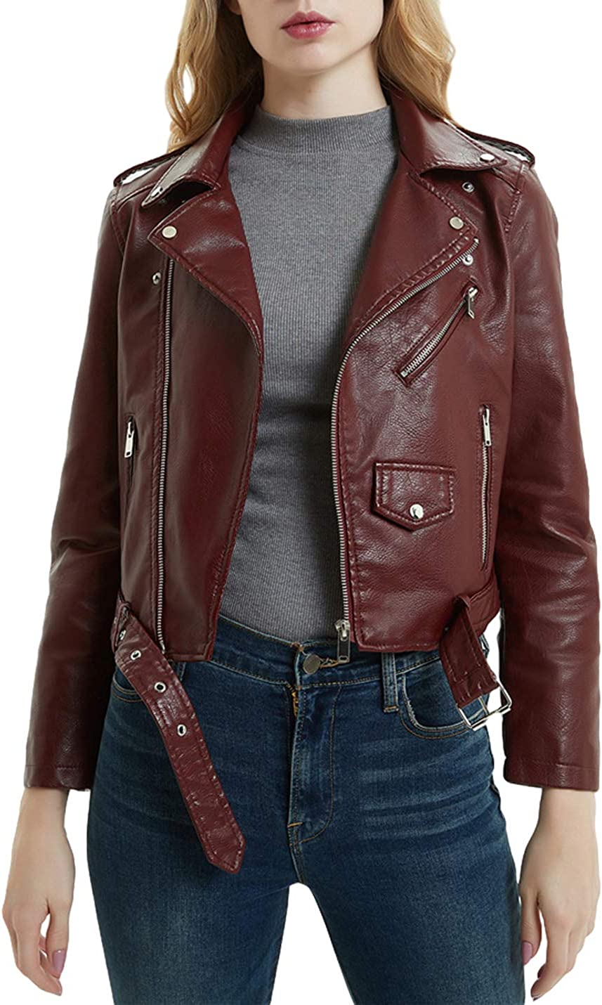 UANEO Womens Faux Leather Asymmetrical Belted Motorcycle Biker Jacket Coat