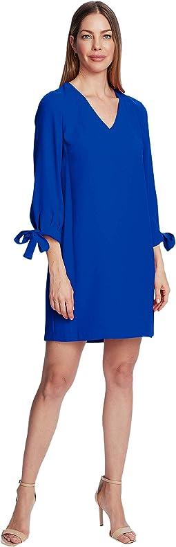 3/4 Tie Sleeve V-Neck Dress
