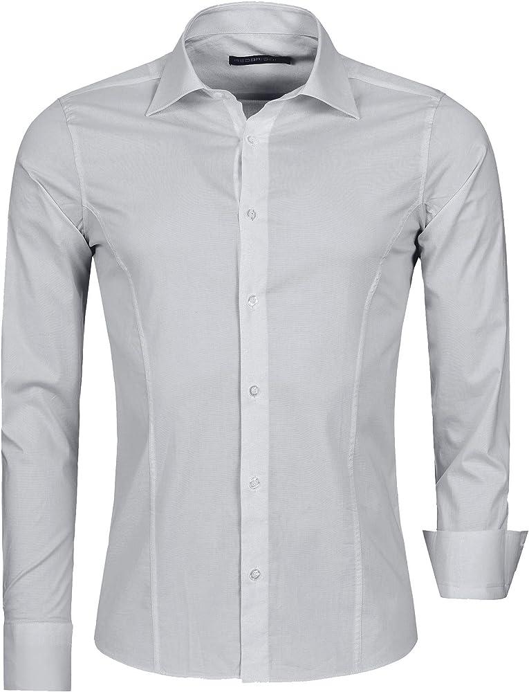 Redbridge, camicia per uomo, 97% cotone, 3% elastan, grigio R-2111L