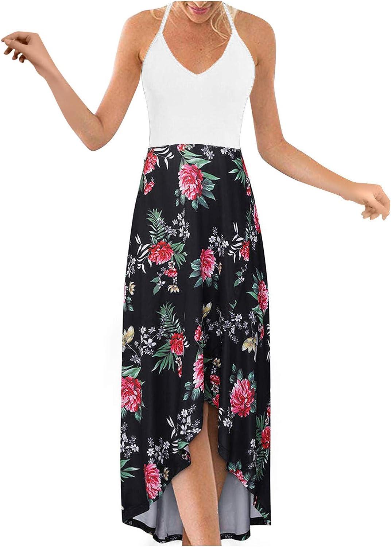 Aniwood Summer Dresses for Women Deep V Loose Tie-dye Cami Sling Casual Maxi Dresses Boho Dress Party Beach Sundress
