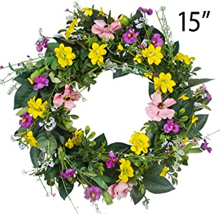 GameXcel Door Wreath for Fall - 15In Daisy Summer Wreath Front Door Wreath Artificial Floral Wreaths Indoor Natural Vine Flowers Wreaths Home Decor for Window, Outdoor, Wedding?All Seanson