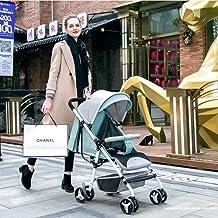 MU Sillas de paseo cómodas Sillas de paseo Sillas de paseo Sistema de viaje Cochecito de niño plegable Puede sentarse y acostarse Adecuado para niños de 0 a 3 años,GRIS