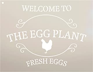 "Welcome to The Egg Plant - Fresh Eggs by StudioR12 | Reusable Mylar Template | Use to Paint Wood Signs | DIY Country Decor - Select Size (13"" x 10"")"