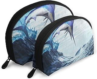 Pouch Zipper Toiletry Organizer Travel Makeup Clutch Bag Fantasy Blue Marlin Fish Burst Through Ocean Wave Portable Bags Clutch Pouch Storage Bags