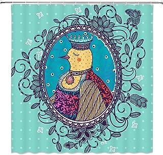 dachengxing Bird Polka Dots Shower Curtain British Style Decor Bird Sideways Portrait Queen Dress up in Circle Mirror Swirl Plant Flower Pattern,Waterproof Aqua Navy Fabric Hooks Included 70x70 Inch