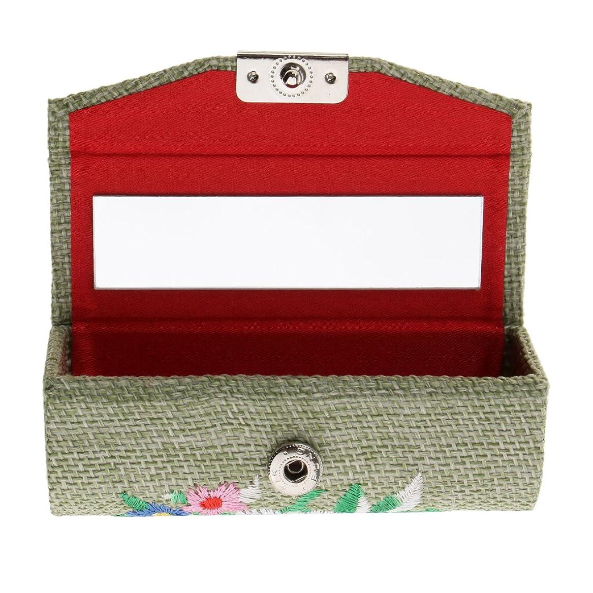 ファックス切り下げ進行中CUTICATE 化粧ポーチ 口紅ホルダー 小物入れ 収納ケース ミラー付き 刺繍 レトロ 6色選べる - ライトグリーン