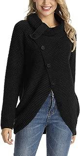 Rocorose Women's Pullover Sweater Turtle Cowl Neck Button Chunky Asymmetric Hem Wrap