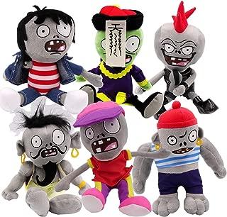 TavasHome Plants VS Zombies 2 PVZ Figures Plush Toys,Stuffed Soft Game Doll,New Zombies (Set of 6Pcs)