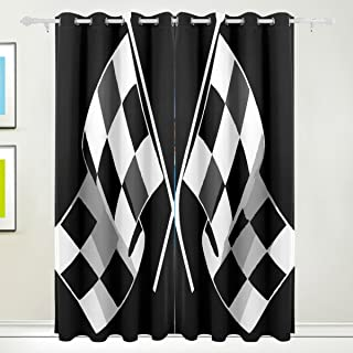LEISISI Check Flag Formula Racing Blackout Window Curtains Grommet Top Thermal Insulated Room Darkening Drape for Bedroom Living Room 55W x 84L Inch, 2 Panels