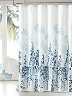 MangGou Fabric Shower Curtain,Japanese Style Flowers Shower Curtain Liner, Polyester Bathroom Curtain with 12 Hooks, Machine Washable,Teal & Blue,72 x 72 inch