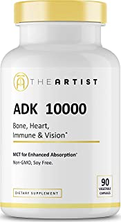 The Artist ADK 10000 Vitamin with MCT Absorption Enhancer, High Potency Vitamins A 10000 IU D3 K1 K2 (MK4 and MK7), Supplement for Heart Bone Vision and Immune, No Soy Non-GMO, 90 Capsules