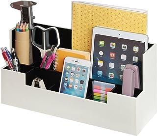 Desk Supplies Office Organizer Caddy (White, 13.4 x 5.1 x 7.1 inches) JackCubeDesign-:MK268E