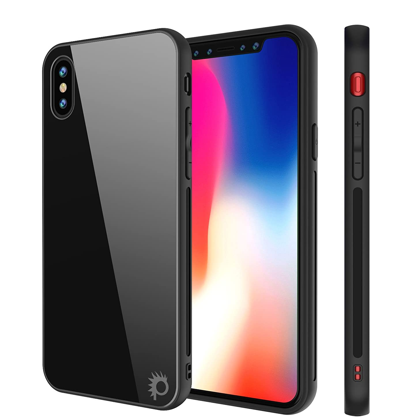 iPhone X Case, Punkcase GlassShield Ultra Thin Protective 9H Full Body Tempered Glass Cover W/Drop Protection & Non Slip Grip for Apple iPhone 10 (Black)
