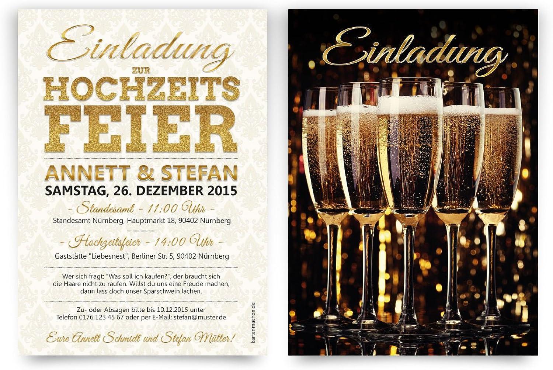 Einladungen zur Hochzeit (60 Stück) Sekt Champagner Gläser Silvester Motiv Einladungskarten B0168KS886 | Sorgfältig ausgewählte Materialien