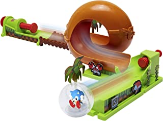 Sonic The Hedgehog Pinball Green Hill Zone Pinball Track Play Set, 9Piece, with Looping Action & Automatic Bumper! Exclusive Sonic Sphere Included, for Ages 3+