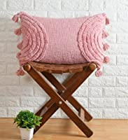pepme Cotton Tufted Pillow Cushion Cover Hand-Woven Knitted, Tassels, Side Rainbow for Living Room, Sofa, Chair (Pink,...