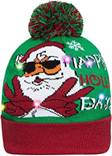 Unisex Stylish LED Light Up Ugly Christmas Hat Beanie Knit Cap for Indoor Outdoor Festival Holiday Party