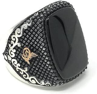 925K Stamped Sterling Silver Onyx Fligree Ottoman Men's Ring K51D