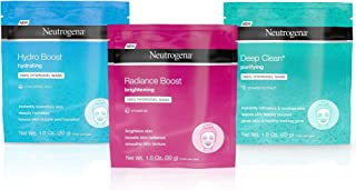 Neutrogena Hydro Boost Face Mask with Hyaluronic Acid, Deep Clean Mask with Seaweed Extract, and Radiance Boost Mask with Vitamin B3 1 ea
