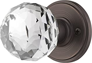 Decor Living, AMG and Enchante Accessories Faceted Crystal Door Knobs with Lock, Privacy Function for Bed and Bath, IRIS Collection, Venetian Bronze