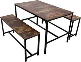 Lzayin Dining Table with Two Benches 3-Piece Dining Set,...