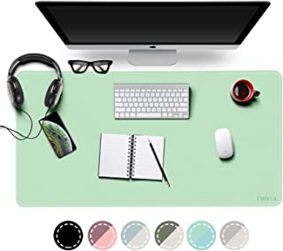 EMINTA Waterproof Desk Pad Protector, 2019 Sewing Reinforcement Dual Sided PU Leather Mouse Mat Desk Blotter Pad, Desk Writing Mat for Office/Home (Green/Blue, 31.5x15.7x0.1inch)