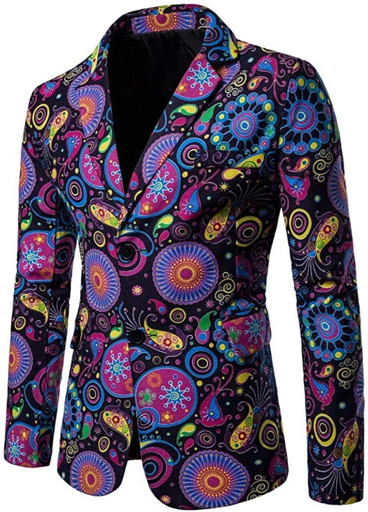 MODOQO Men's Long Sleeve Print Slim Fit Dashiki Cardigan Suit Blazer for Party Prom