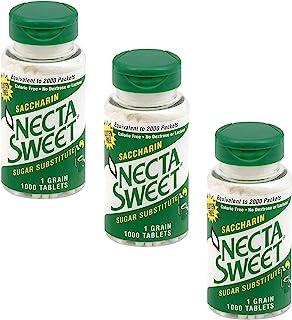 Necta Sweet 1-Grain Saccharin Tablets - Zero-Calorie Sugar Substitutes (3-Pack 1,000-Tablet Bottle)