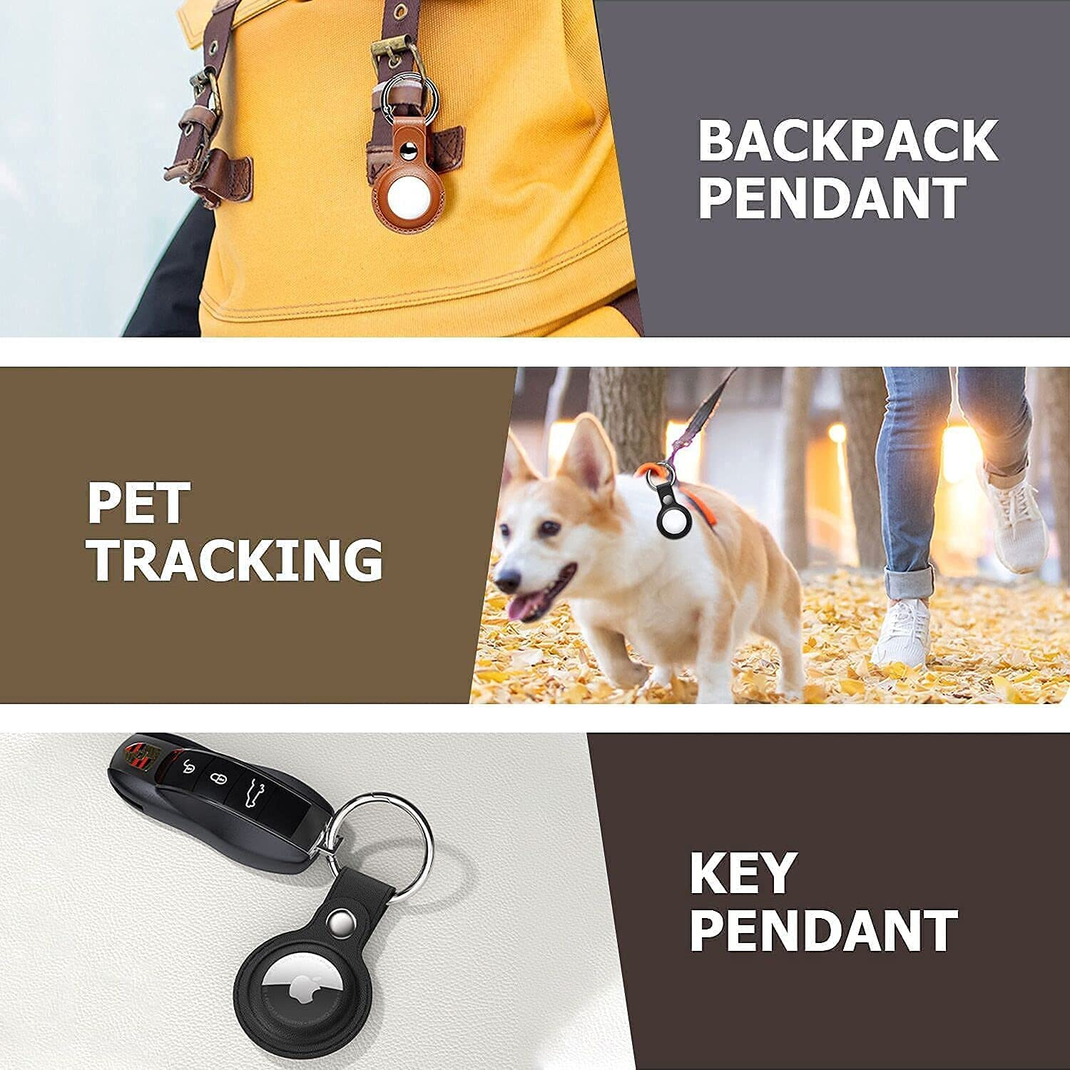 2 Pack Anti-Lost Leather Case for AirTag,VAYWET Protective Case Cover with Keychain Ring Designed,Safety Airtag Tracking Locator Anti-Lost Tracker Finder Protector