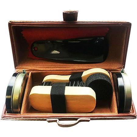 Yuet Kit de nettoyage de chaussures pour cuir marron et noir avec brosse de polissage, étui de voyage en crin de cheval, applicateur en bois, chausse-pied, chiffon, 7 pièces