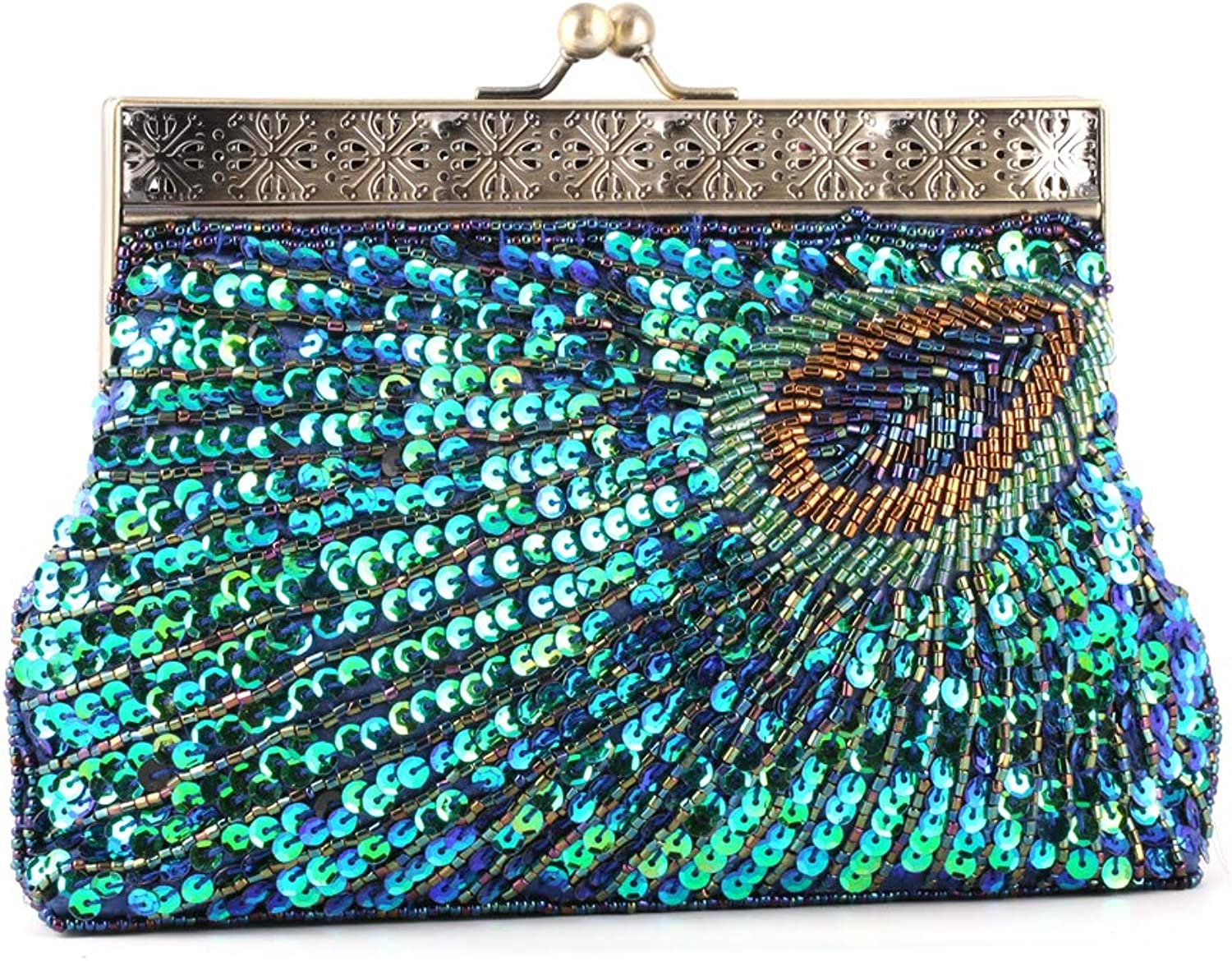 Women Glitter Fashion Beaded Sequin Peacock Clutch Cross Body Bag for Wedding Evening Party Handbag Purse