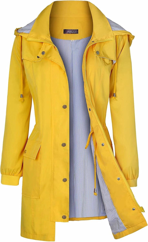 Bloggerlove Women's Raincoats Windbreaker Rain Jacket Waterproof Lightweight Outdoor Hooded Trench Coats S-XXL