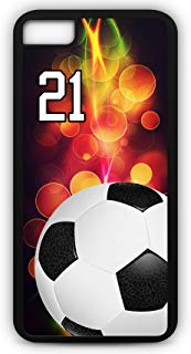 iPhone 8 Phone Case Soccer SC051Z by TYD Designs in Black Plastic Choose Your Own Or Player Jersey Number 21