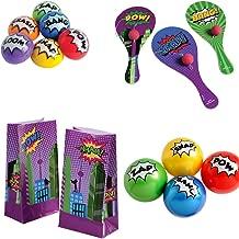 Kid Fun Superhero Toy Party Favor Supplies Set for 12 Bundle 48 Pieces Paddle Balls Treat Bags