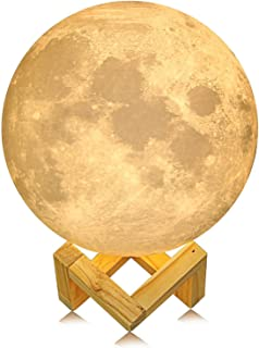 ACED Moon Light, 3D Printing LED Moon Lamp Large, Touch Control, Ajustable Brightness, USB Recharge, Seamless Lunar Moon Night Light Lamp with Stand for Bedrooms, Mother's Day Gift, 7.1Inch