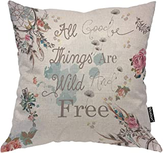 Moslion Quote Pillows Floral Word All Good Things are Wild and Free Dream Catcher Flower Leaf Throw Pillow Cover Decorative Pillow Case Square Cushion Accent Cotton Linen Home 18x18 Inch