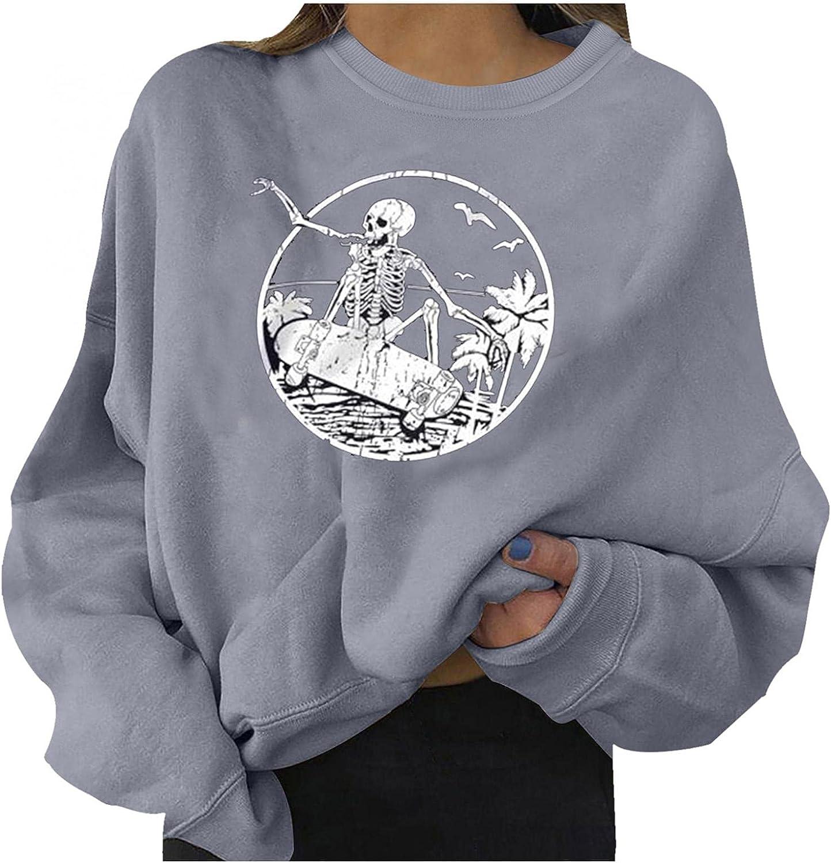 Halloween Shirts for Women, Women's Oversized Funny Loose Skeleton Print Halloween Long Sleeve Pullover Sweatshirt Tops Shirt