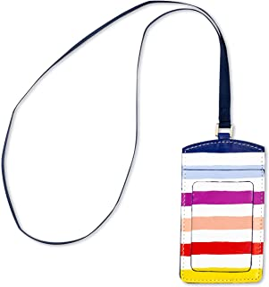 Kate Spade New York ID Badge Holder with Lanyard, Vegan Leather Name Tag Case with Clear Window and Card Slot for Work/School/Travel (Candy Stripe)