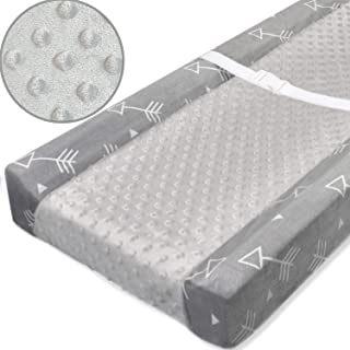 BORITAR Stretchy Changing Pad Covers with Dot Design, Ultra Soft Minky Fabric Changing Table Sheets for Unisex Infants, Grey Little Arrow Print