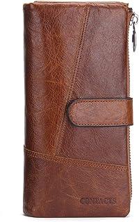 Contacts Men Genuine Leather Bifold RFID Wallet Checkbook Organizer Clutch Purse Card Case 12 Cards